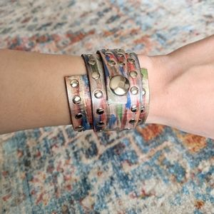 Handmade Painted Leather Snap Cuff Bracelet 6.5 in